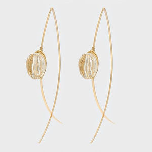 Glass Bead Gold Wire Wrapped Thread Earring